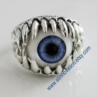 Steampunk Monster tooth Sauron eye ring---925silver