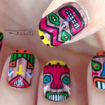 Nail polish strips. TWO SETS of nail decal wraps. Tiki men