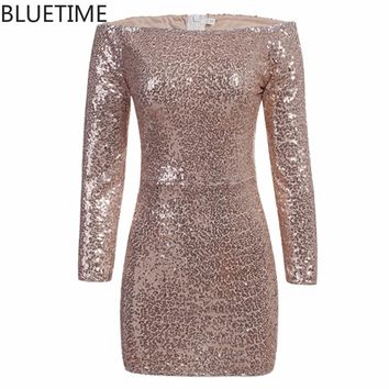 BLUETIME 2017 Sexy Off Shoulder Sequin Dress Women Party Long Sleeve Elegant Short Pencil Bodycon Ladies Dress Robes 20S