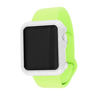 Real Diamond Apple Watch With Lime Green Silicone Band