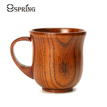 Natural Wooden Coffee Mug Wood Tea Cup 250ml Classic Wood Cups and Mugs Coffee Milk Tea Mug Home Cafe Bar Drinking Cup Drinkware