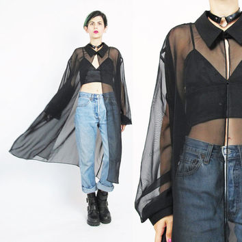 1990s Sheer Black Blouse Draped Duster Jacket Long Sheer Black Jacket See Through Shirt Plus Size Goth Cardigan Layering Cover Up (XL)