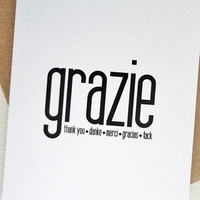 Grazie card thank you many languages greeting card danke tack minimalist
