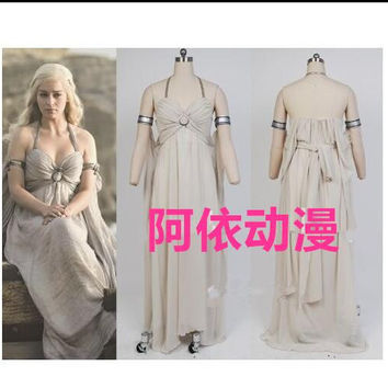 New 2016 Daenerys Targaryen Halloween Costume A Song of Ice and Fire Game of Thrones Daenerys Targaryen Costume