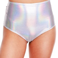 Holographic Silver High-Waist Booty Shorts