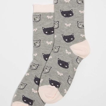 Cat and Bow Print Ankle Socks | Dorothyperkins