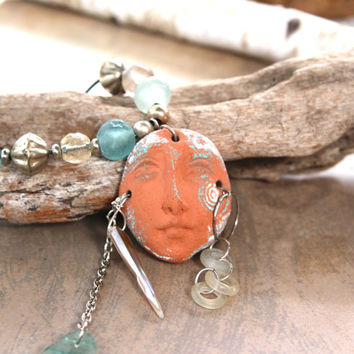 Sand and Sea Goddess Necklace Pottery Face Shard with Ancient Roman Glass Shell and Old Dogon Dangles Beach Ocean Jewelry
