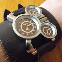 Russian Military 3 Time Zones Movements Quartz Steampunk Watch