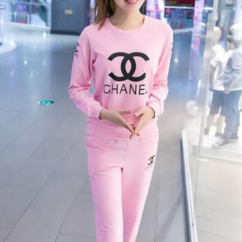 CHANEL Women Fashion Bra Top Sweater Pants Trousers Set Two-Piece
