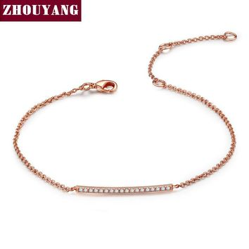 Rose Gold or Platinum Plated Silver  Bracelet On Dainty Gold Chain