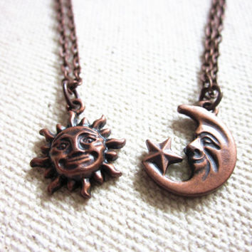 sun and moon necklace set,sun and moon friendship necklace,couples necklace,soul mate necklace,friendship necklace,sun moon necklace