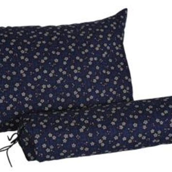 J-Life Sakura Navy Buckwheat Hull Pillow