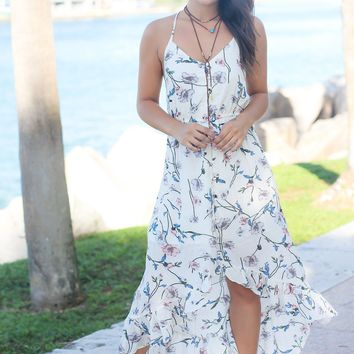 Ivory Floral High Low Dress with Criss Cross Back