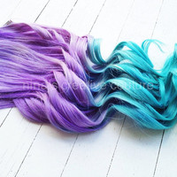"Ombre Hair,Tie dye Hair, Festival Hair, Hair Extensions, Lavender and Icy Blue Green, 18""/Customize your Base Color"