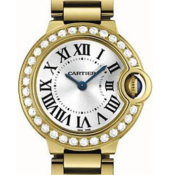 Cartier Ballon Bleu 18K Yellow Gold Diamond Ladies Watch WE9001Z3