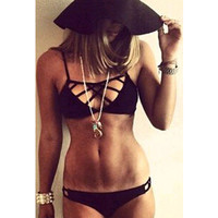 2016 Trending Fashion Hollow Bandage Black Halter Neck Two-Piece Bikini Swim Suit Beach Bathing Suits Swimwear _ 2801
