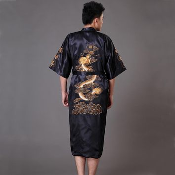 High Quality Black Men's Kimono Bath Gown Chinese Style Satin Robe Embroidery Dragon Sleepwear Pijamas Plus Size S-XXXL MP071