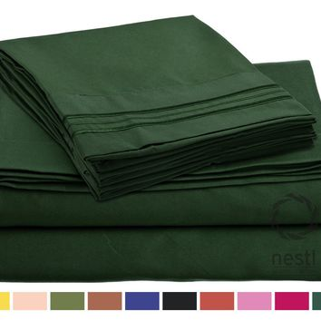 Bed Sheet Bedding Set, 100% Soft Brushed Microfiber with Deep Pocket Fitted Sheet - TWIN - HUNTER GREEN - 1800 Luxury Bedding Collection, Hypoallergenic & Wrinkle Free Bedroom Linen Set By Nestl Bedding