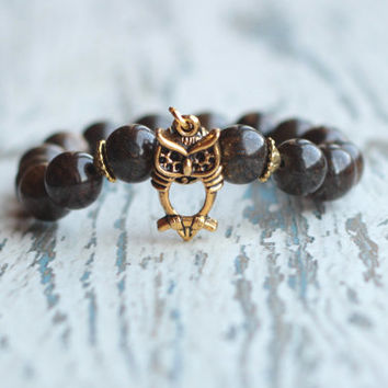 owl bracelet mens beaded bracelets women brown bracelet owls jewelry boho gold gemstone gifts for her stretch bracelet owl charm girlfriend