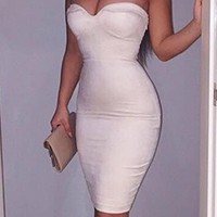 Defining Moment White Faux Suede Strapless Bustier Bodycon Midi Dress