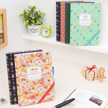 Ardium Nature colorful flower pattern lined notebook with leather cover