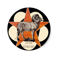 Love Your National Parks Mountain Ram Stickers