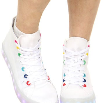 WHITE ILLUMINATE HI TOP SNEAKER