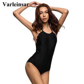 2017 S - 4XL black plus size swimwear large size women one piece swimsuit scalloped halter bathing suit swim wear female V296