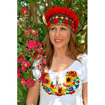 "Ukrainian headpiece ""Hutsul Crown"" red"