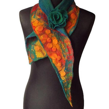 Nuno Felted Collar Colorful Felt Scarf Art to wear Yellow Red Green Christmas Gift Collar with Felted Flower Brooch Neck Warmer Shawl OOAK
