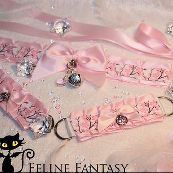 Made-to-order pink kittenplay petplay Collar & Cuff set with cherry blossom print and silver bell