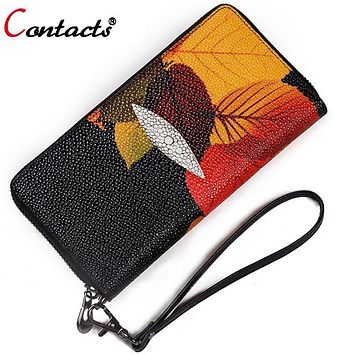 CONTACT'S Women wallet genuine leather wallet female coin purse card holder Women's wallets and wallets Organizer money purses