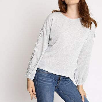 Aster Ruffled Detail Sweatshirt | Ruche