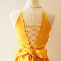 Cross Rope Dress Mustard Yellow Prom Dress Vintage Sundress 50 shades dress Mustard Bridesmaid Dress La La Land Dress Mustard Party Dress