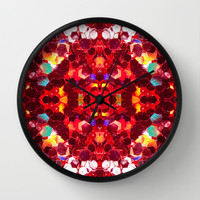 Red abstract mosaic shiny glitter pattern Mandala Wall Clock by PLdesign