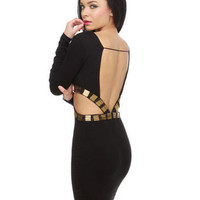 Sexy Black Dress - Little Black Dress - Beaded Dress - Cuout Dress - $83.00