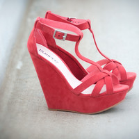 Bumper Elisia-02 Coral T Strap Open Toe Wedge Shoes 4 U Las Vegas