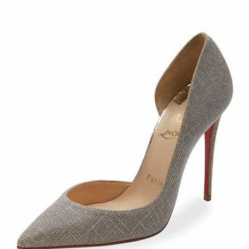 Christian Louboutin Iriza Glitter 100mm Red Sole Pump, Silver/Gold