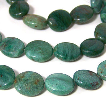 African Jade Beads,  16mm x 14mm flat oval gemstone, FULL strand (618S)