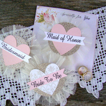 Bride Badge, Bride To Be, Heart, Bride Corsage, Bachelorette Party Pins, Bridal Shower, Hen Party Pins, Wedding Party Badges, Blush, GoLd