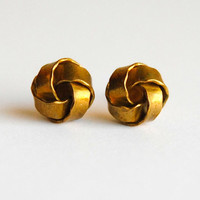 Dainty Vintage Brass Knot Earrings - Nautical Fashion - Free Shipping in the US - Summer Fashion