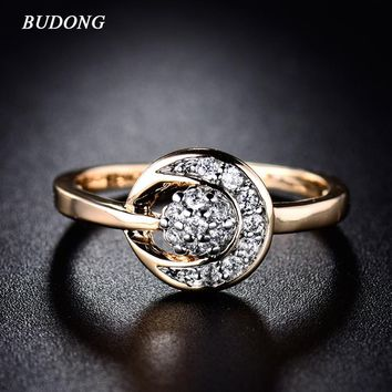 BUDONG Infinity Women Ring Lose Money Promotion Suppliers China Band Gold Color Ring Crystal CZ Zircon Wedding Jewelry xuR230