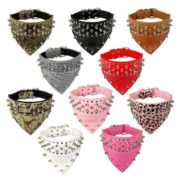 "2"" Wide Bandana Style Studded Leather Pet Dog Collar 4 Sizes 6 Colors Fit For Pitbull Boxer Mastiff"