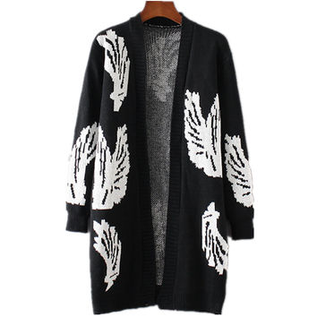Women Leaf Pattern Knitted Sweater Cardigan Outwear