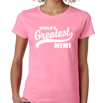Light Pink World's Greatest Mimi Crewneck Tee