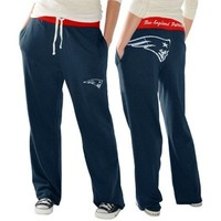 New England Patriots Ladies Recruit Fleece Pants - Navy Blue