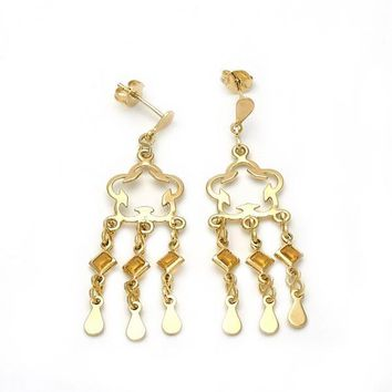 Gold Layered Long Earring, Flower and Teardrop Design, with Opal, Gold Tone