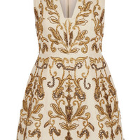 Alice + Olivia - Prescilla embellished duchesse-silk mini dress