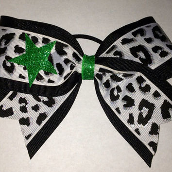 White Leopard Cheer Bow with Glitter Star by TheFiercestFandom