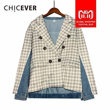 Trendy CHICEVER Plaid Jacket For Women Blazer Female Coat Denim Patchwork Hem Asymmetry Autumn Loose Coats Clothes Fashion Tide New AT_94_13